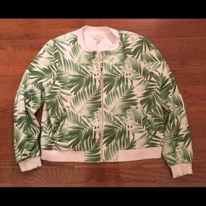 FOREVER 21+ PALM FROND ZIP UP BASEBALL BOMBER XL